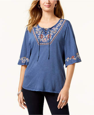 Style&Co. Style & Co Embroidered Short-Sleeve Peasant Top