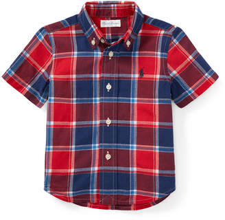 Ralph Lauren Childrenswear Short-Sleeve Collared Plaid Shirt, Size 9-24 Months