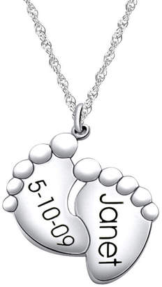 JCPenney FINE JEWELRY Personalized Baby Announcement Pendant Sterling Silver Necklace