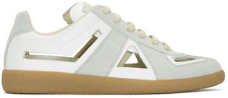 Maison Margiela White and Grey Decortique Cut-Out Replica Sneakers