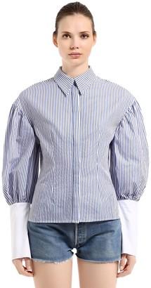 T.A.G.G. Striped Cotton Shirt W/ Puff Sleeves