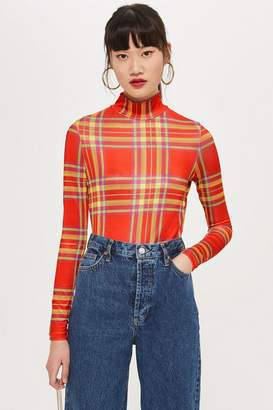 Topshop Check Slinky Funnel Top