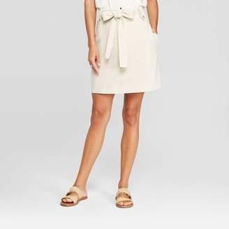 Universal Thread Women's At Knee Belted Skirt Cream