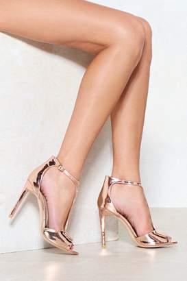 Nasty Gal T Bar Liquid Metallic Heels