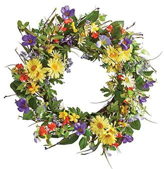 "Collections Etc Wild Daisy Floral Twig 19-1/2"" Door Wreath"