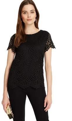 Phase Eight Black Tessa Lace Top