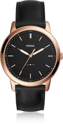 Fossil The Minimalist Slim Three-Hand Black Leather Men's Watch