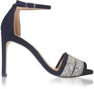 Stuart Weitzman Babette Nova Black Suede & Crystals Sandals