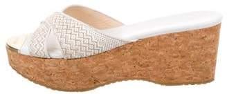 Jimmy Choo Leather Wedge Slide Sandals