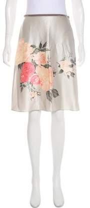 Blumarine Printed Silk Knee-Length Skirt