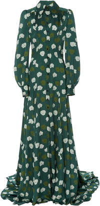 Carolina Herrera Puff-Sleeve Fitted Trench Gown