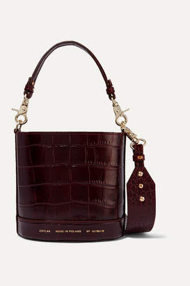 Chylak - Cylinder Mini Glossed Croc-effect Leather Shoulder Bag - Burgundy