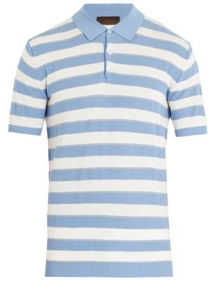 Altea - Striped Cotton Crepe Polo Shirt - Mens - Light Blue