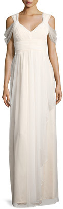 Donna Morgan Dotted-Mesh Cold-Shoulder Gown, Off White $179 thestylecure.com