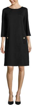 LIZ CLAIBORNE Liz Claiborne 3/4-Sleeve Shift Dress with Gold Buttons $31.99 thestylecure.com