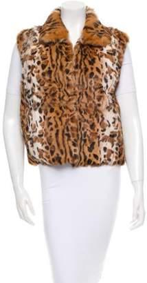 Adrienne Landau Leopard Print Fur Vest Brown Leopard Print Fur Vest