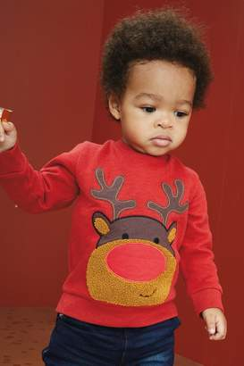 Next Boys Red Rudolph Crew Neck Sweater (3mths-7yrs) - Red