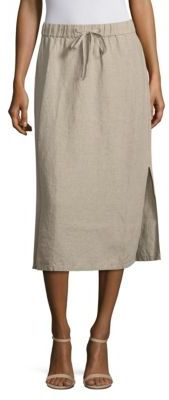 Eileen Fisher Organic Linen Drawstring Midi Skirt $198 thestylecure.com