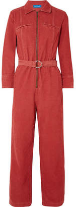 MiH Jeans Drayson Belted Cotton-corduroy Jumpsuit - Red