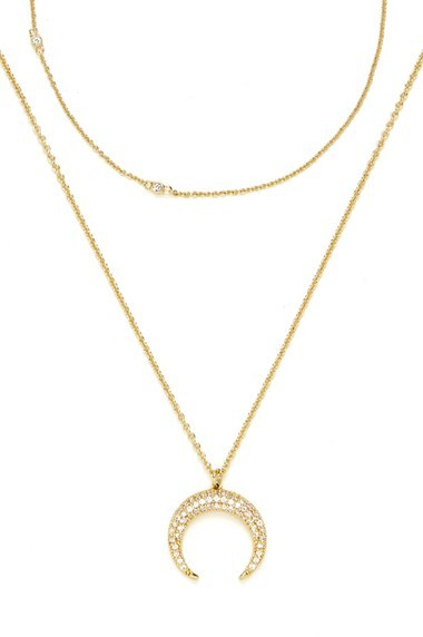 Women's Baublebar 'Semelle' Pendant Necklace & Chain (Set Of 2)