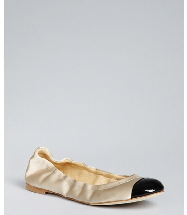 Giuseppe Zanotti champagne satin patent cap toe flats