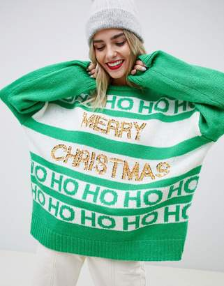 Asos DESIGN christmas slogan sweater with sequins