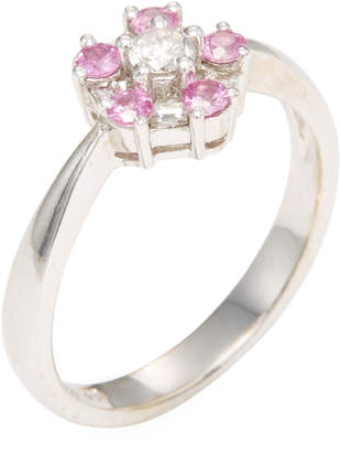 Rina Limor Fine Jewelry Women's 18K White Gold, Pink Sapphire & Diamond Floral Ring