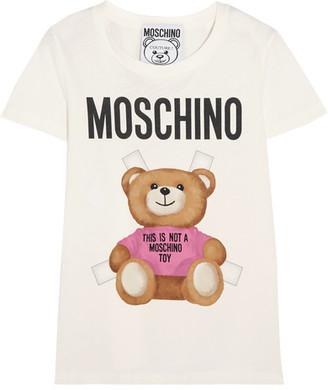 Moschino - Printed Cotton-jersey T-shirt - White $225 thestylecure.com