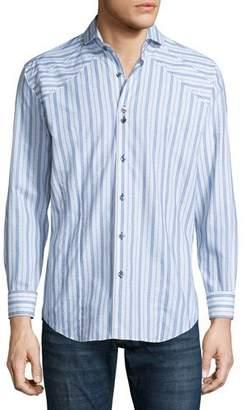 Bogosse Striped Long-Sleeve Sport Shirt, White
