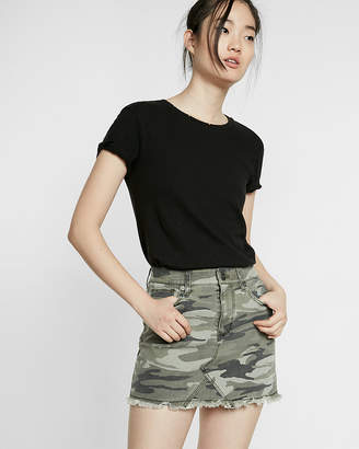 Express Mid Rise Camouflage Twill Mini Skirt