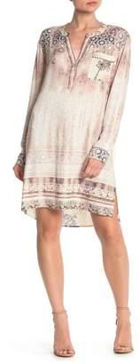 Hale Bob Printed Long Sleeve Shift Dress