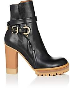 Chloé Women's Buckle-Strap Leather Ankle Boots - Black