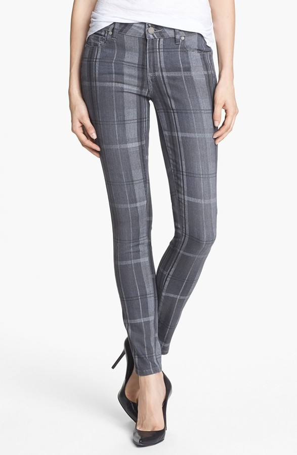 Paige 'Skyline' Plaid Ankle Jeans (Cloud Cover)