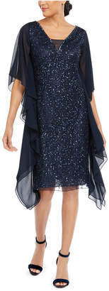 J Kara Sequined Flutter-Sleeve Dress