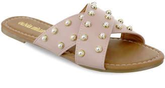 OLIVIA MILLER Lucie Multi Pearl Studded Slide Sandals Women Shoes
