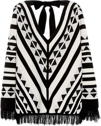 Oscar de la Renta V-Neck Printed Sweater With Fringe
