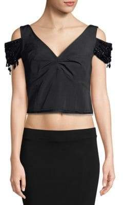 Dries Van Noten Cold-Shoulder Crop Top