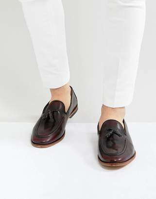 Asos Design Loafers In Burgundy Leather With Emboss Texture