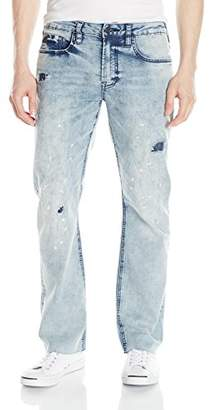 Buffalo David Bitton Men's Six Slim Straight Leg Fashion Jean with Contrasted and Bleached Wash