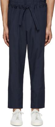Umit Benan Navy Cotton Comfort Trousers $320 thestylecure.com