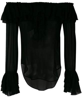 Twin-Set off shoulder ruffle blouse