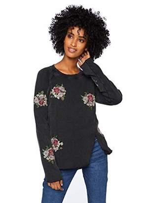 Lucky Brand Women's Embroidered Flowers Sweatshirt Black