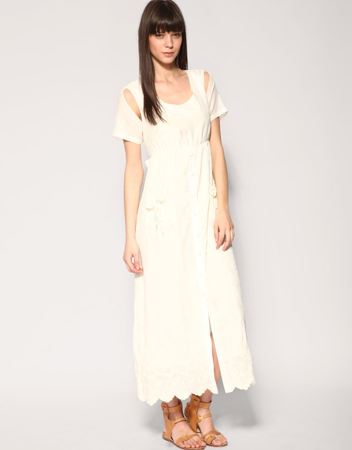 TBA Button Front Silk Cotton Embroidered Dress
