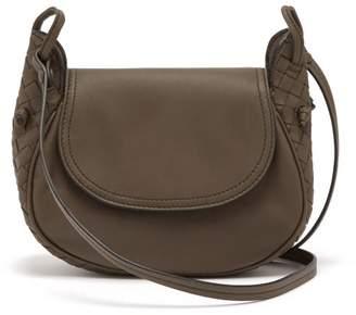 Bottega Veneta Nodini Intrecciato Leather Cross Body Bag - Womens - Grey