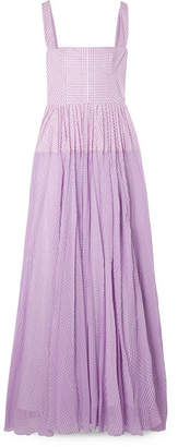 Lela Rose Gingham Poplin And Silk-chiffon Maxi Dress - Purple