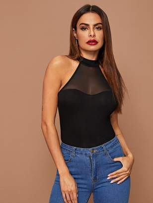 Shein Mesh Yoke Fitted Halter Top