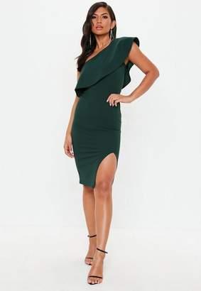 Missguided Green Scuba One Shoulder Midi Dress