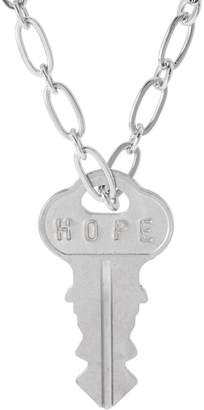 "The Giving Keys Silvertone 'HOPE' Key Pendant w/ 30"" Dainty Chain"
