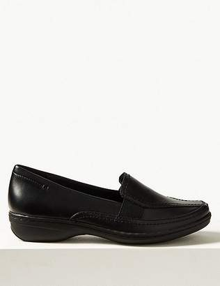 Marks and Spencer Wide Fit Leather Wedge Heel Loafers
