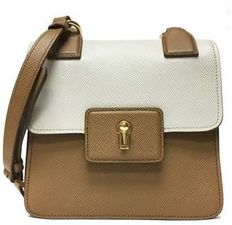 Prada Cuir Pattina Shoulder Bag Saffiano Caramel Beige/Talco White
